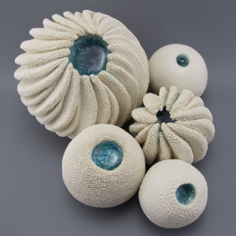 Coastal Ceramic Sculptures with Glass Detail