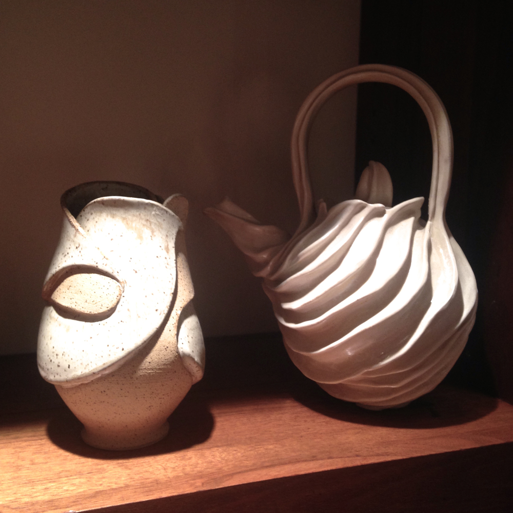 Modern Organic Ceramic Vase and Teapot