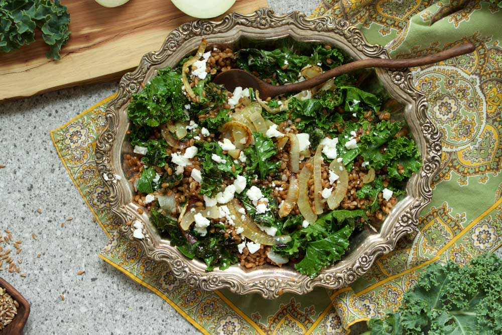 Wheat Berry Salad with Greens and Feta