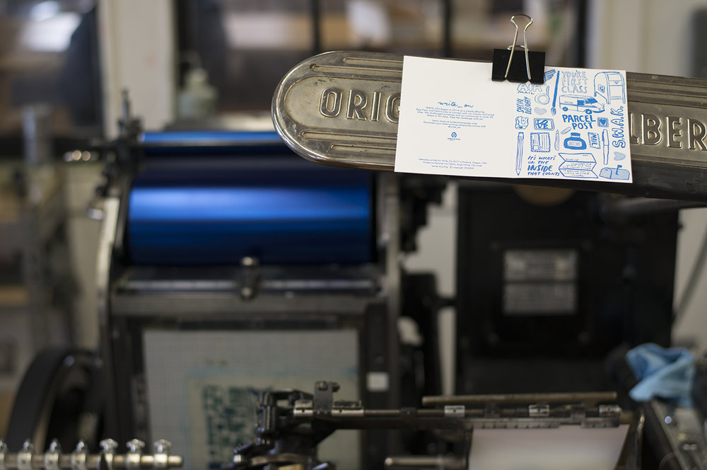 Cards are displayed on the presses so that printers can check each card coming off the press for accuracy of registration and color.