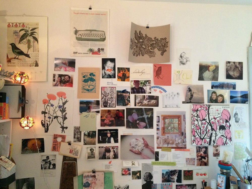 A wall of inspiration boasts treasures from near and far.