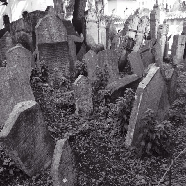 Oldest Jewish cemetery in Europe in Prague, dating back to 1400.