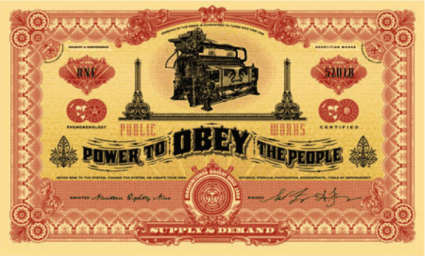 """The Two Sides of Capitalism (Good),"" Shepard Fairey, silkscreen on paper, 34 x 52 inches, $7,500"