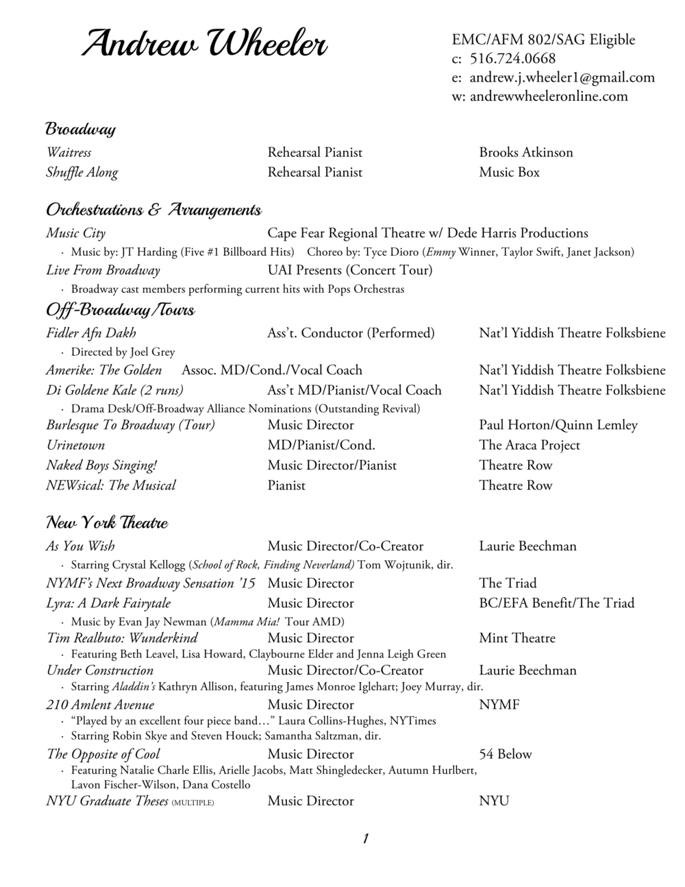 Resume — Andrew Wheeler