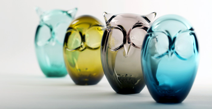 Glass owls by Jennifer Schinzing.