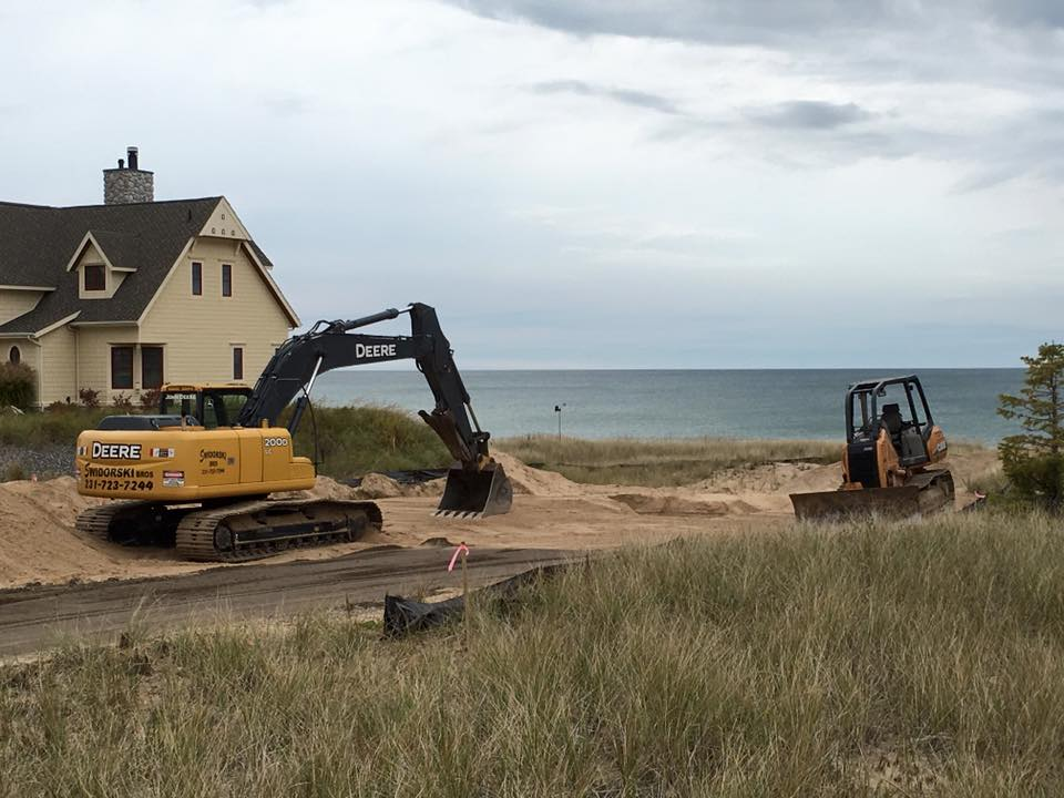 New home sitework on Lake Michigan