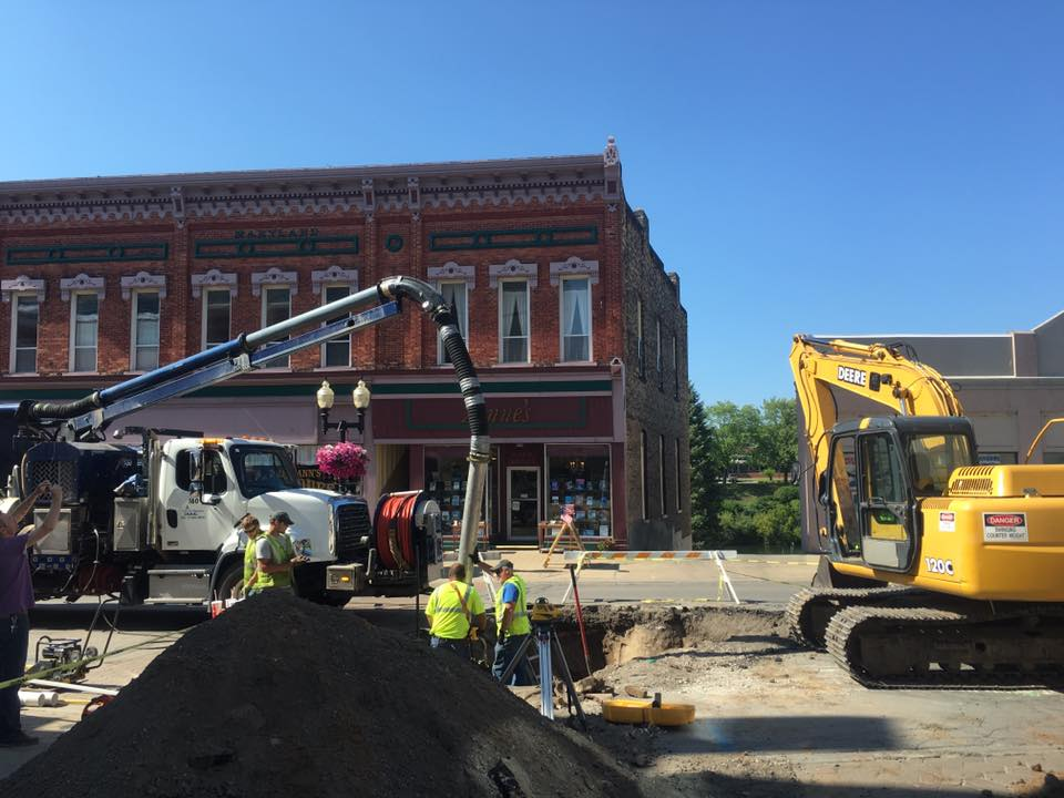 Sewer line repair work on River Street, Manistee