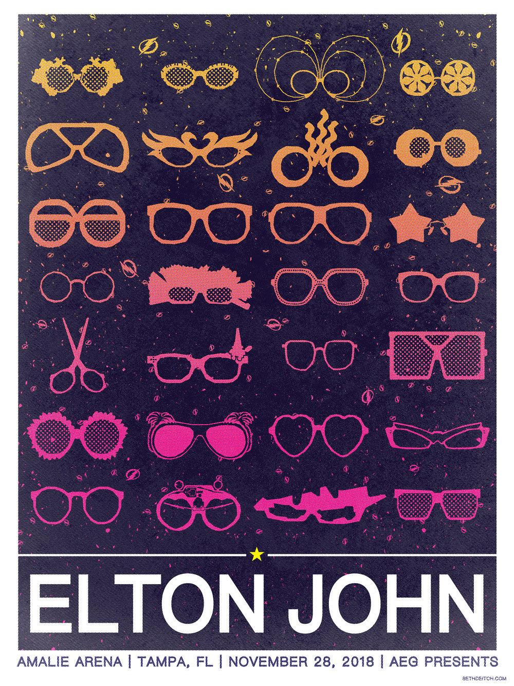 Elton John -- 3 Color Screen Print