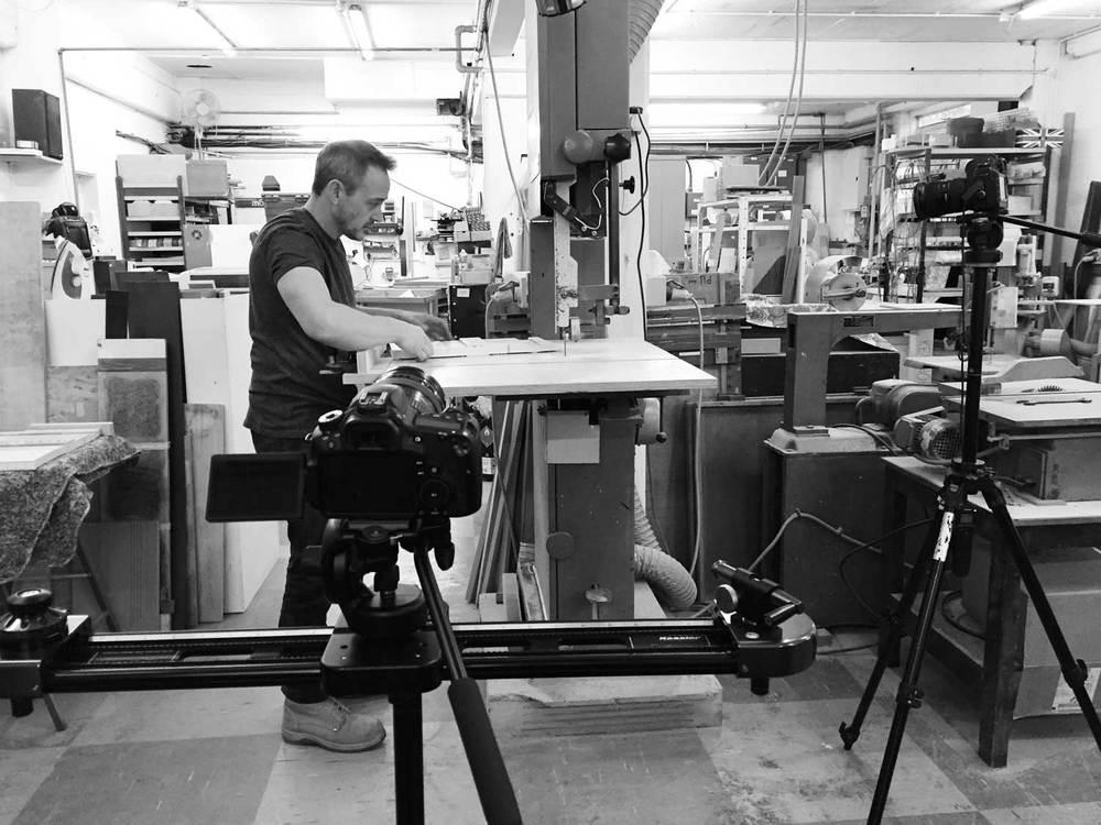 Filming the piano key maker in Brandon, Suffolk