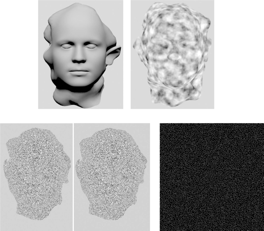 Examples of different types of stimuli used in Experiments 1 and 3. Each facial surface was defined by a single individual depth cue. Here, an example of the average face defined by shading, texture, stereo disparity, and SFM is shown. (In the case of the stereo disparity condition, the two images were presented dichoptically with a height of 10.5° of visual angle and at a distance of 60 cm from the monitor using shutter glasses.)
