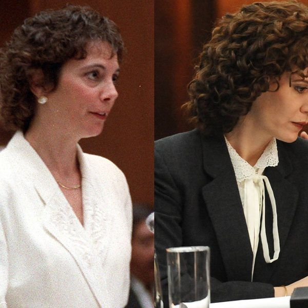 Marcia Clark (left) and Sarah Paulson as Marcia Clark in The People V. OJ Simpson: American Crime Story.