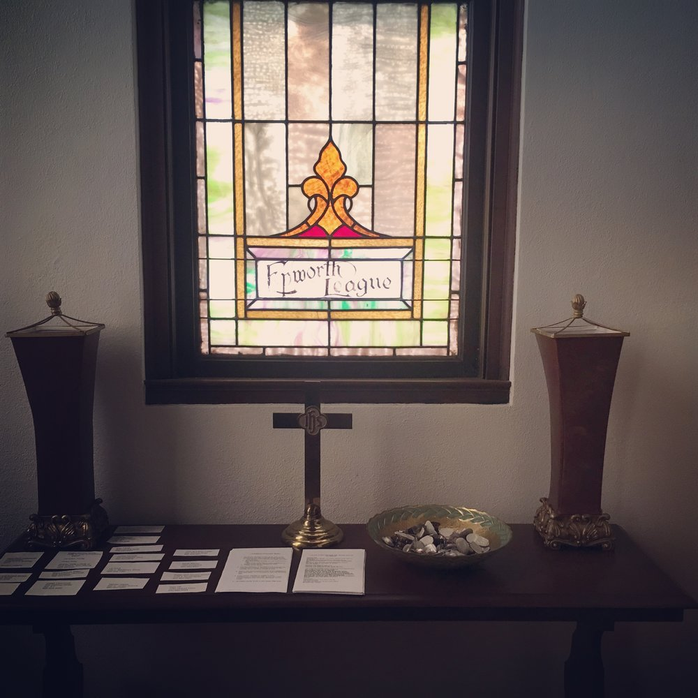 A little-used vestibule is now the sacred headquarters for serving Holy Communion to our homebound members.