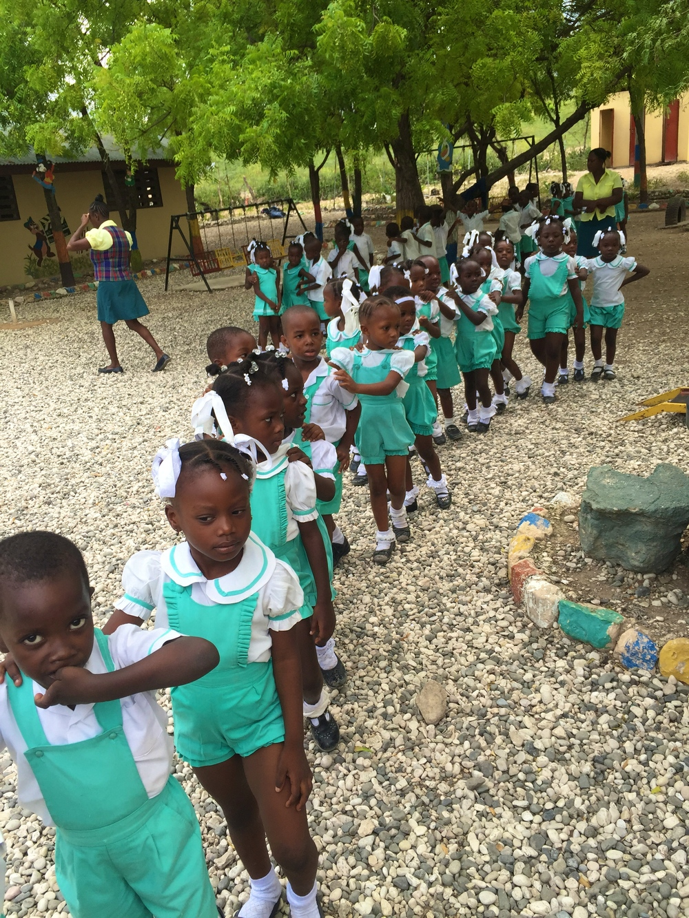 All the children lining up to return back to their classrooms to learn!