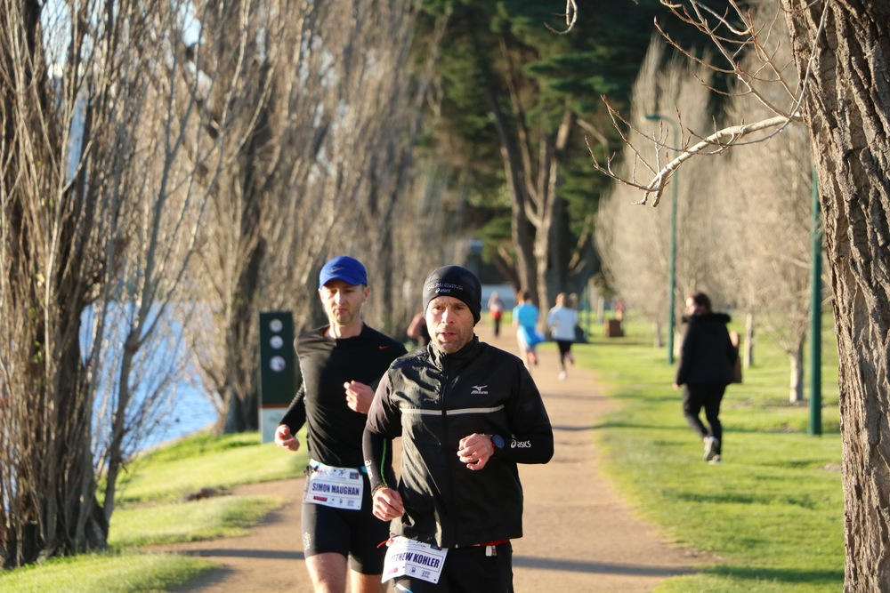 Simon Maughan and Matt Kohler in Melbourne on Day 3 of the Bravehearts 777 marathon series.