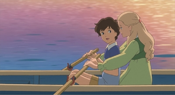 Marnie helps Anna learn how to row.  Credit to Studio Ghibli.