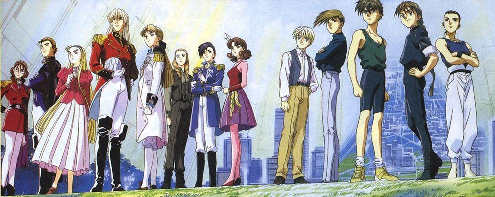 The cast of Gundam Wing . Credit to Sunrise.