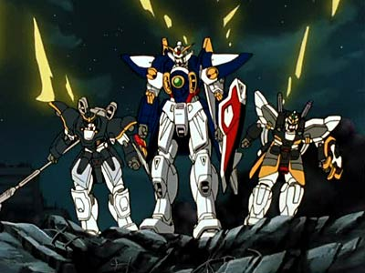 Wing, Deathscythe, and Sandrock Gundams from an episode of Gundam Wing . Credit to Sunrise.