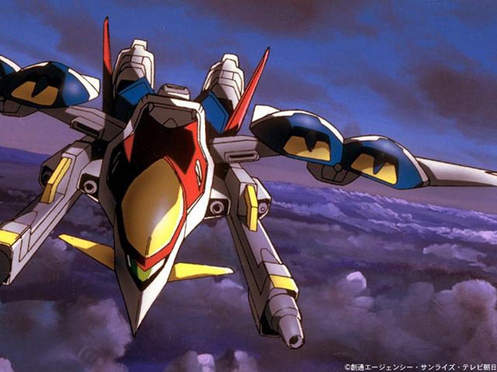 Gundam Wing Zero in flight mode. Credit to Sunrise .