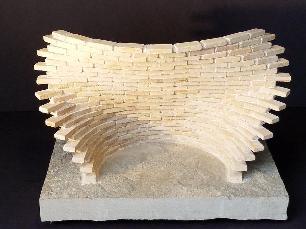 "Medium: Sandstone  Dimensions: 20"" x 12"" x 13"" including base"