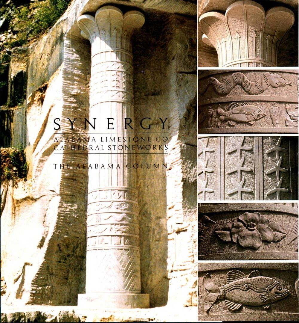23' tall Alabama Column, carved into the side of the quarry and embellished with reliefs depicting Alabama state emblems. Concept design by Penelope Naylor.