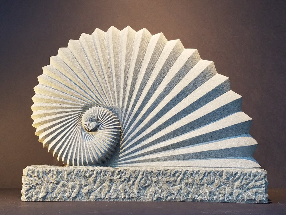 "This piece was designed with the Golden Ratio in mind. Medium: Colusa Sandstone Dimensions: 18"" x 4"" x 14"""