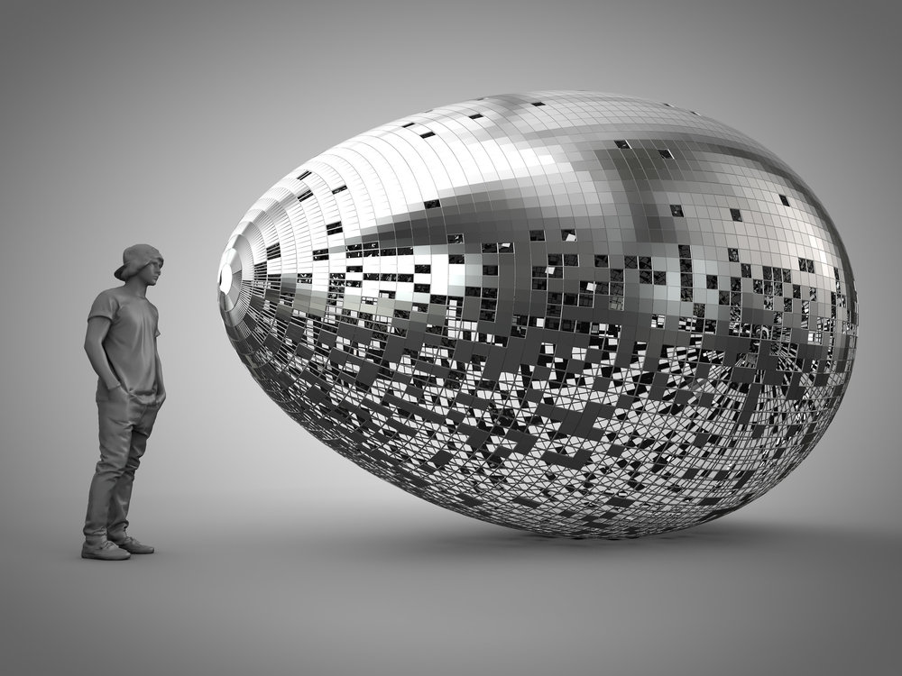 "The pixelated Egg is a tribute to Silicon Valley and its ability to nurture – ""incubate"" – new life in the form of innovative ideas, dreams, and the tools necessary for them to grow into reality.  Medium: Stainless Steel"