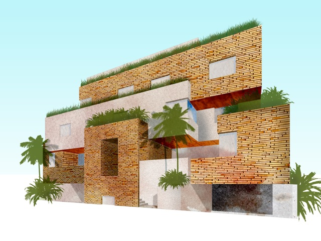 First scheme for Nuzha House. In this scheme the plot is split in two on the ground floor.
