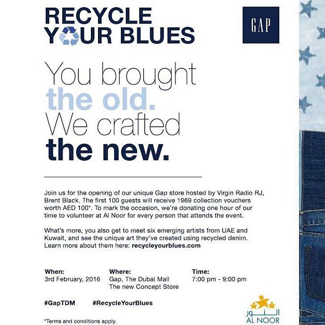 If youre in Dubai join us tonight (Feb 3 '16) at the Gap store in Dubai Mall 7 to 9 pm.  Come check out some great artwork made with re-used denim.  The more people show up, the more is given to charity!  #RecycleYourBlues #charity #dubai #art #denim #reused