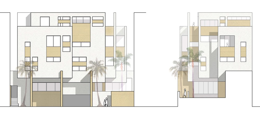 Final elevations for the Nuzha Residence mixing white stucco and sand colored brick.