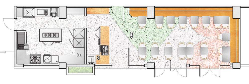 Plan. Materials include Terrazzo flooring, leather, wood and steel furniture.