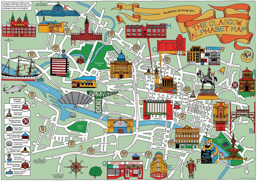 Map Of Glasgow GLASGOW ALPHABET MAP — Illustration, etc. Map Of Glasgow