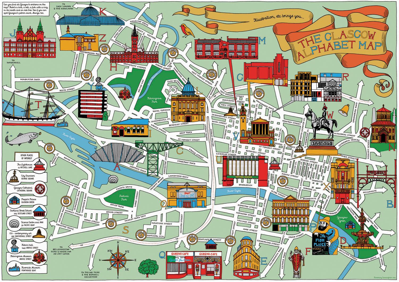 GLASGOW ALPHABET MAP — Illustration etc