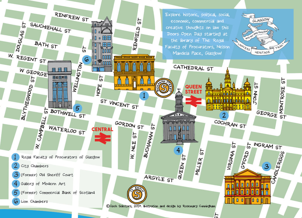 The map highlights six of Glasgow's legal landmarks all within a mile radius in the town centre.