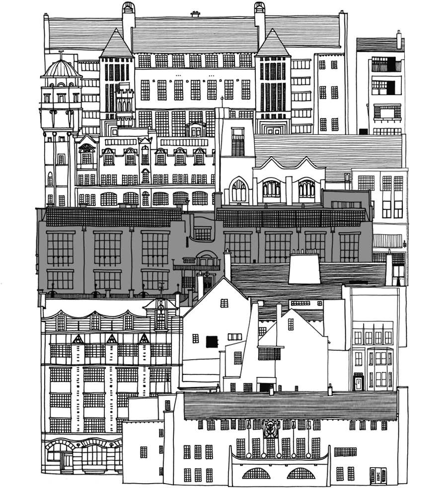 Illustration: Some Mackintosh designed buildings with the GSA's Mackintosh building highlighted.