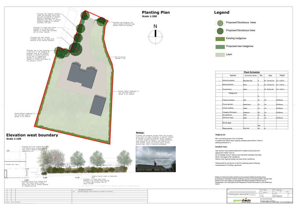Landscape Planning application for residential property with elevation and suggested planting