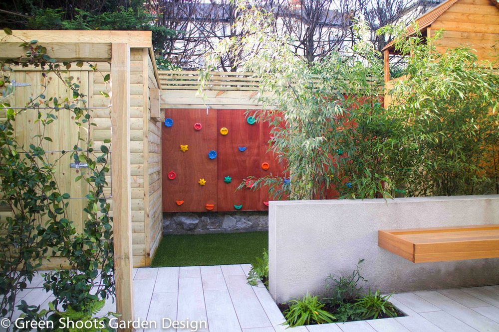 Garden featured in Sunday Independent March 2017   Bespoke hardwood bench seating, climbing wall & play house