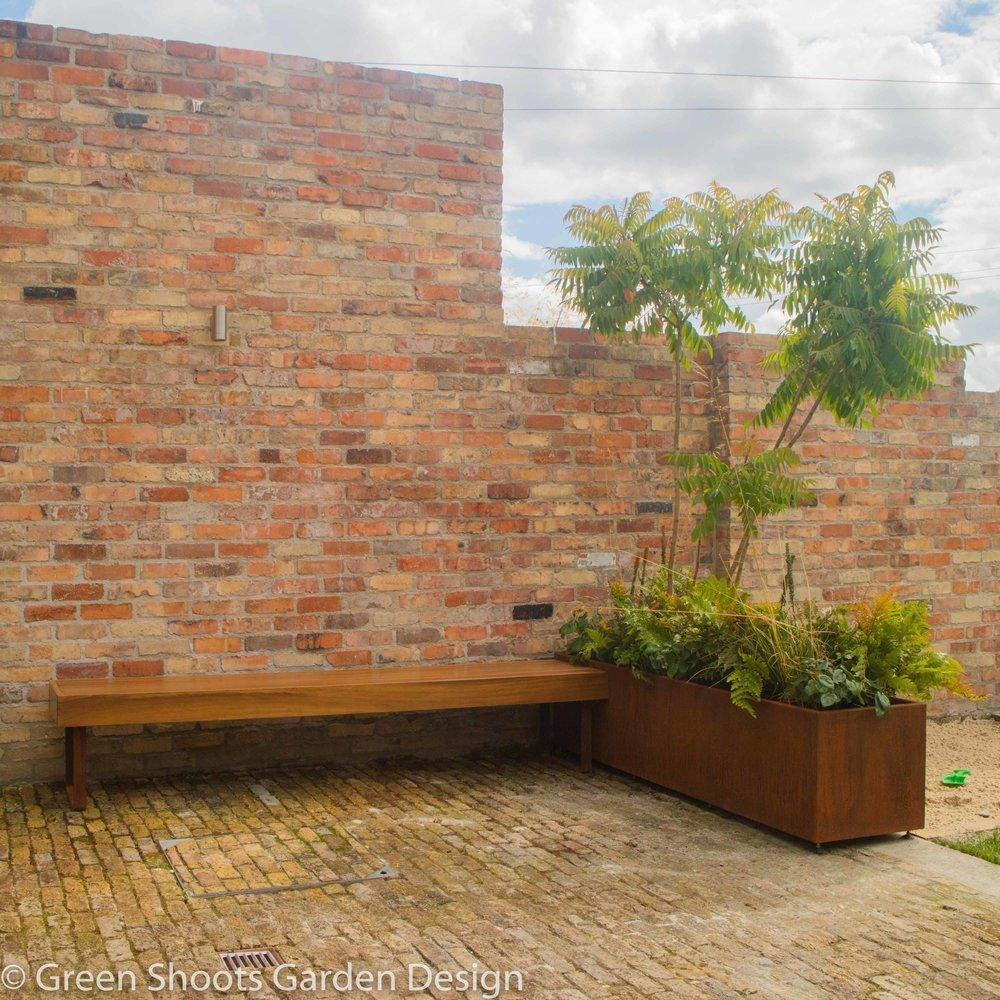 Hardwood Garden Bench & Corten Planter