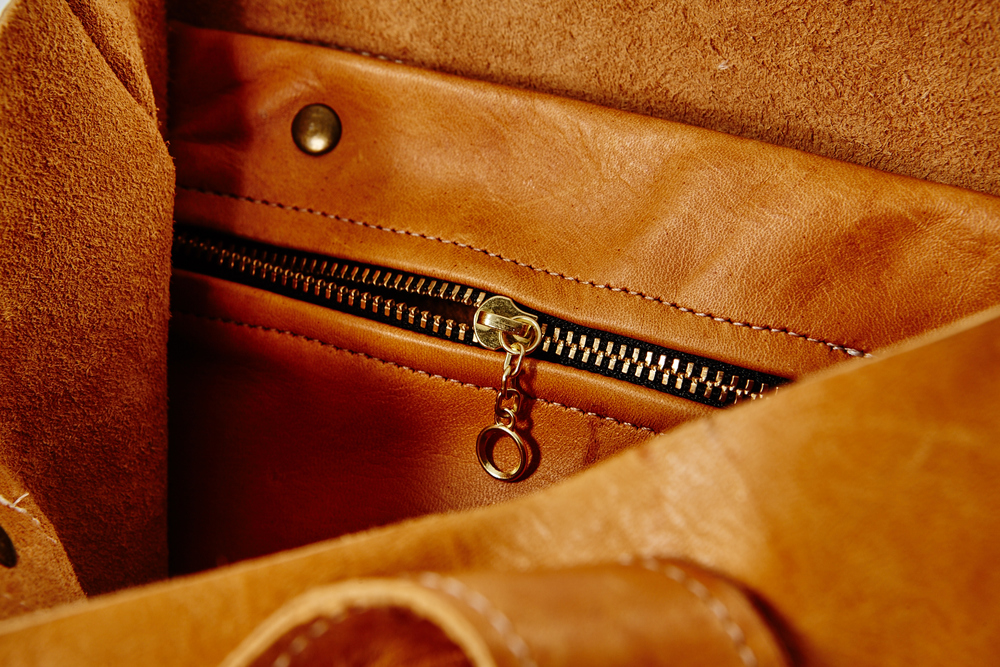 A close up detail of one of Production Mode's vegetable-tanned leather pieces.