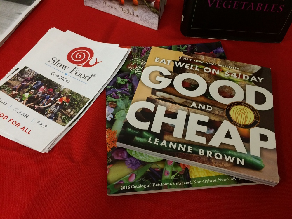 Resource table - including Leanne Brown's Good and Cheap : Eating Well on $4/Day.