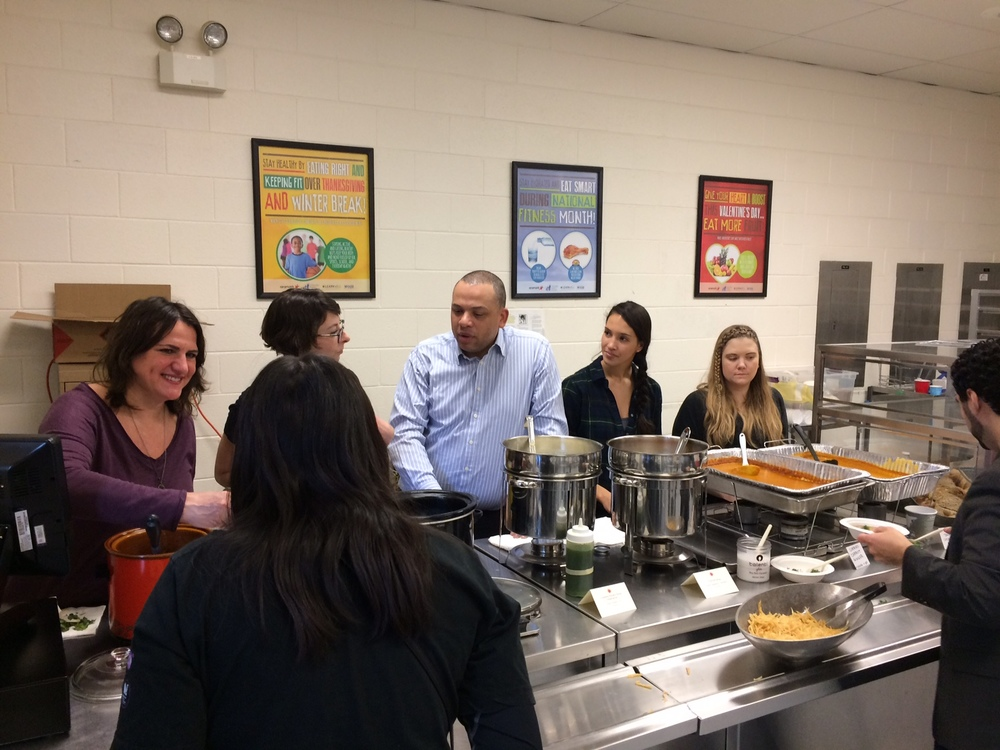 The soup serving line - complete with the City Treasurer!