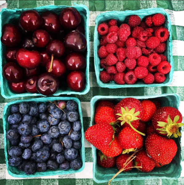 Market fresh seasonal berries - cherries, raspberries, blueberries and strawberries!