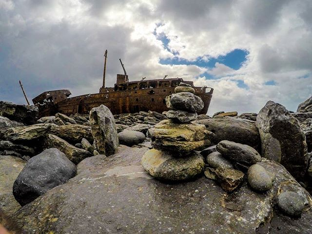 Shipwreck on the rocks... #Adventure #Ireland #beach #summer #sky #boat #ship #shipwreck #clare #stones #insta #instagood #instadaily #trip #holiday #holidays #adventures #landscape #nature #natural #naturephotography #travel #travelling #Buddhism #stone