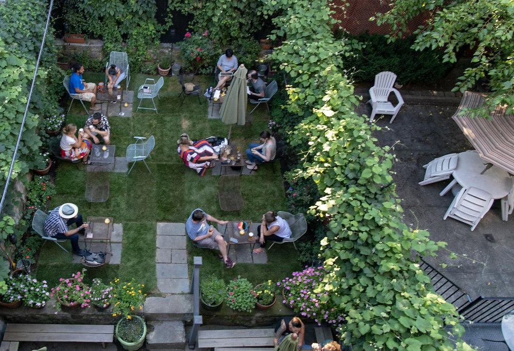 aerial view of backyard garden