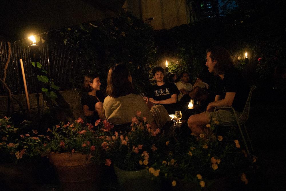 backyard at nighttime