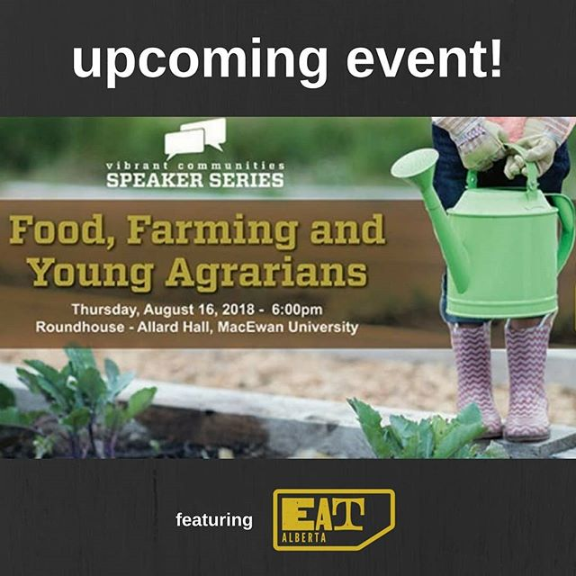 On August 16, we are partnering with @youngagrarians for the summer session of the @urbansystems Vibrant Communities Speaker Series, which will focus on holistic management practices in farming. Speaker Ian Griebel of @redtail_farms will also speak about the roles that urban consumers of farm-grown food play in caring for the environment.⠀ ⠀ The event is free to attend, so head to Eventbrite to register now!⠀ https://buff.ly/2mKQkeN⠀ ⠀ #eatalberta #yeg #yegevents #yegfood #exploreedmonton #travelalberta #eatlocal #farmtotable #support #supportyourlocalfarmer #centralalberta #localfood #supportsmallfarms #shoplocal
