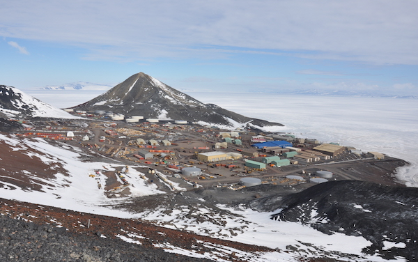 The view from Arrival Heights over the whole of Mactown and out onto the McMurdo Ice Shelf.
