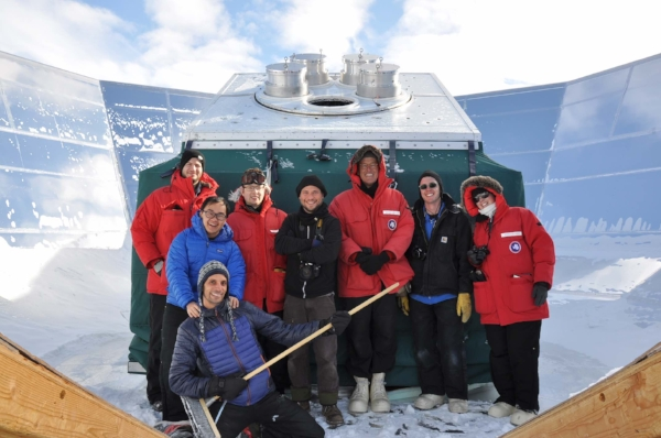 Hanging with the excellent BICEP/Keck team and some other polar folk along for the tour. You can see the pointy end of the cryostats emerging from the mount. The instrument is surrounded by a plywood and mylar shield to reduce heat interference from the nearby buildings at the Pole.