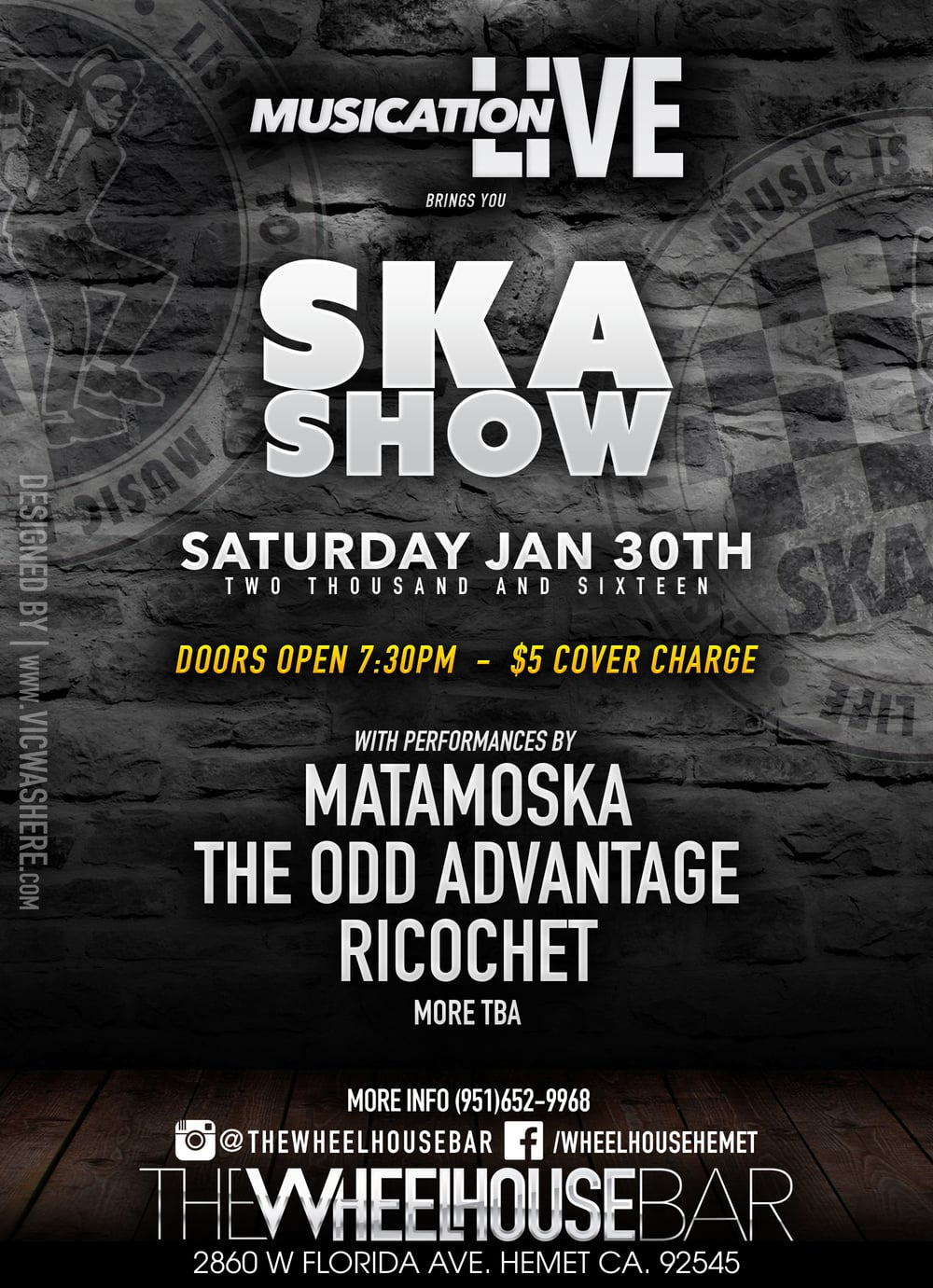 Ska Show by Musication Live at The Wheelhouse Bar in Hemet