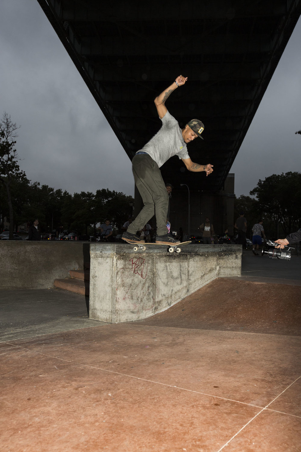 Derek Holmes was flipping in and shoving out of this backside tailslide.