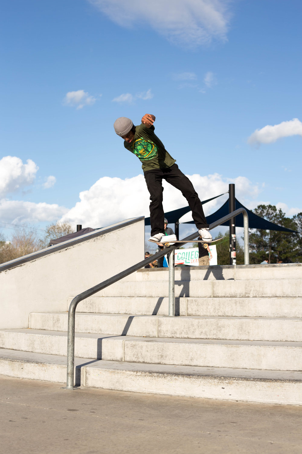 Jordi has a sick backside hurricane on the handrail!